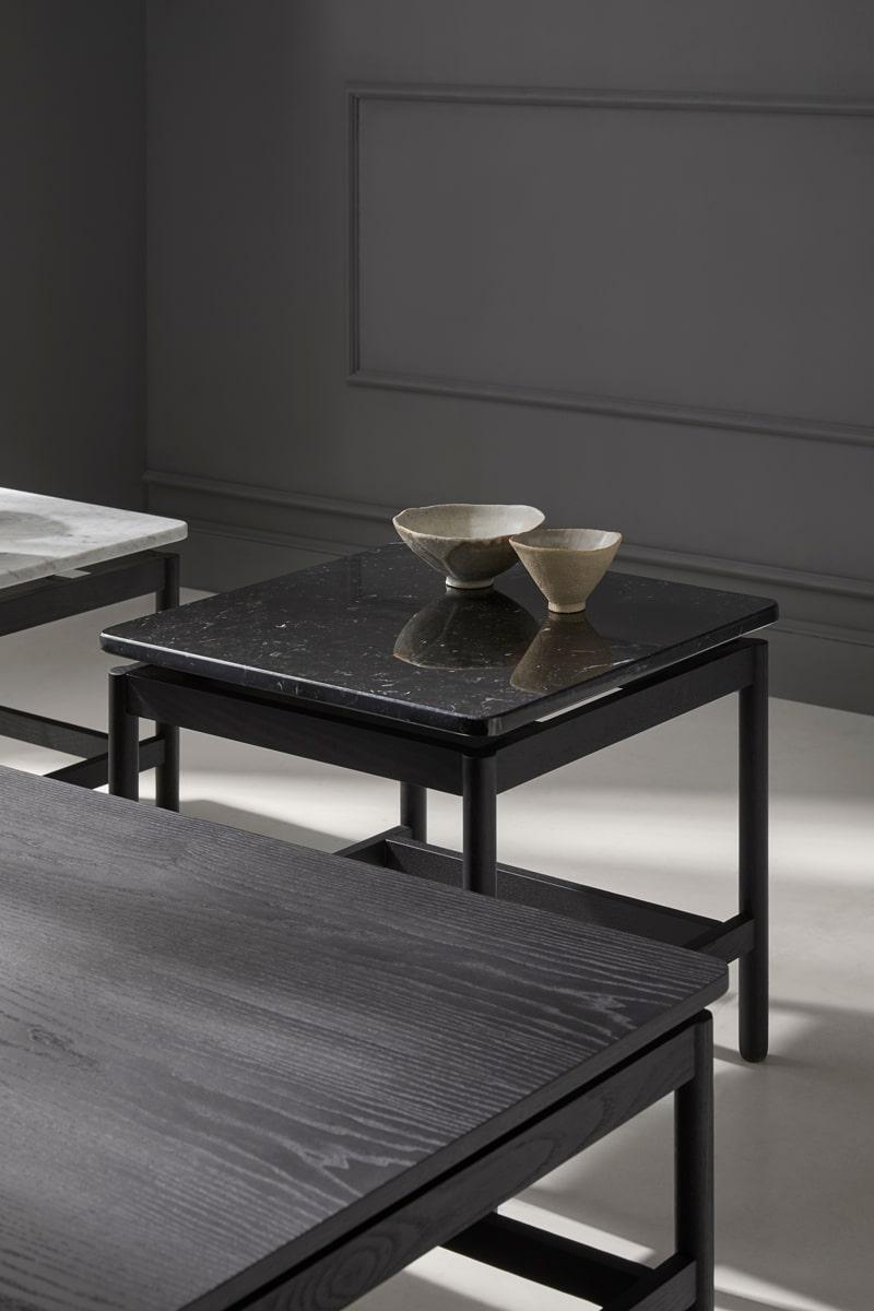 Mesas de la colección REM, disponibles tanto en madera como en mármol - Muebles de diseño por Blasco&Vila